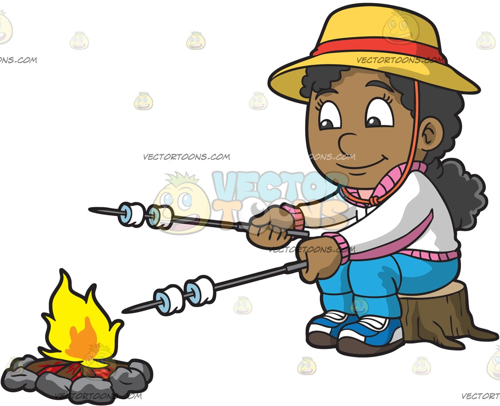 1024x833 A Black Girl Roasting Marshmallows While Camping Cartoon Clipart