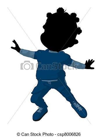 337x470 Little African American Football Girl Illustration Stock