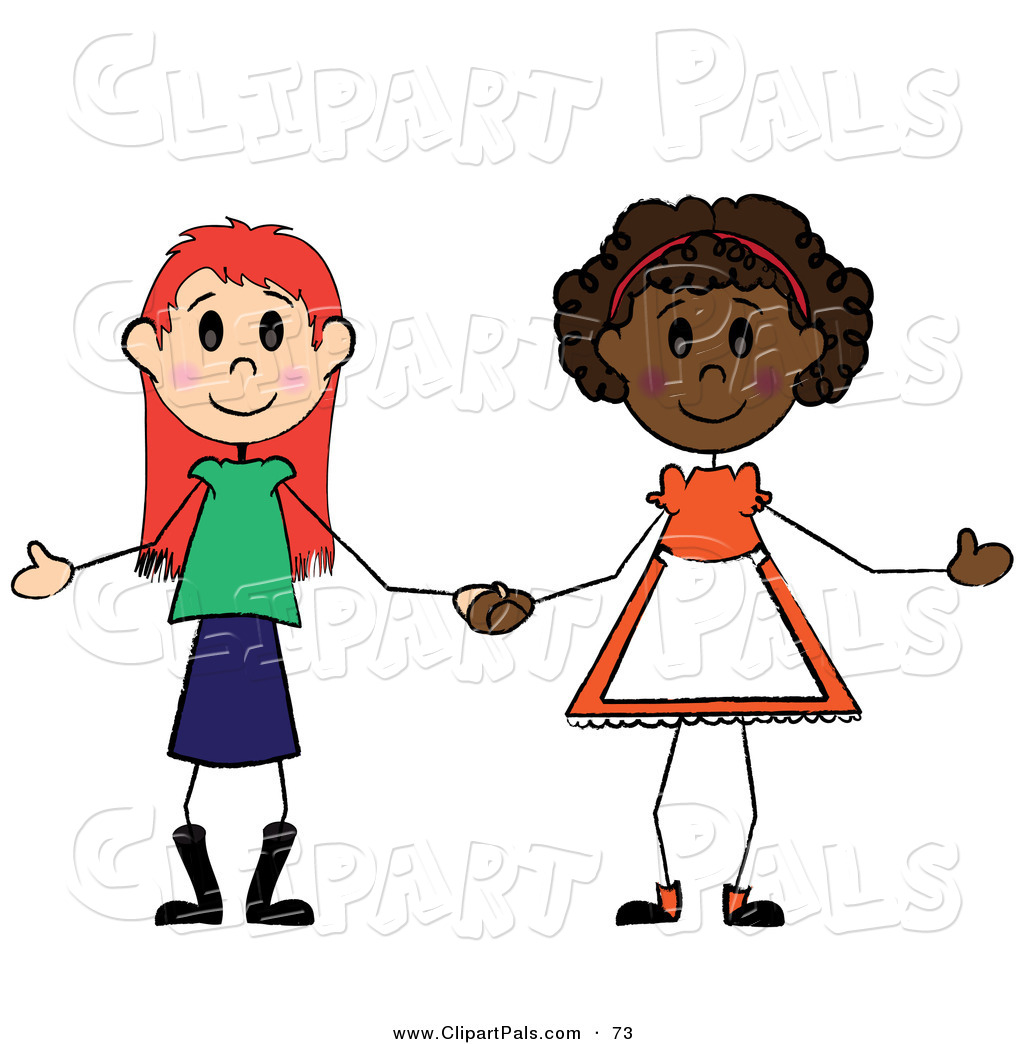 1024x1044 Pal Clipart Of A Two Diverse Little Girls Holding Hands On White
