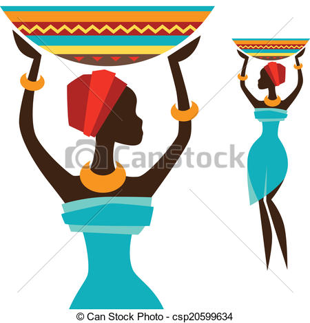 450x470 Silhouette Of African Girl Which Carries Basket. Vectors