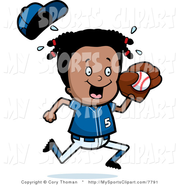 600x620 Sports Clip Art Of A Black Baseball Girl Holding A Ball By Cory
