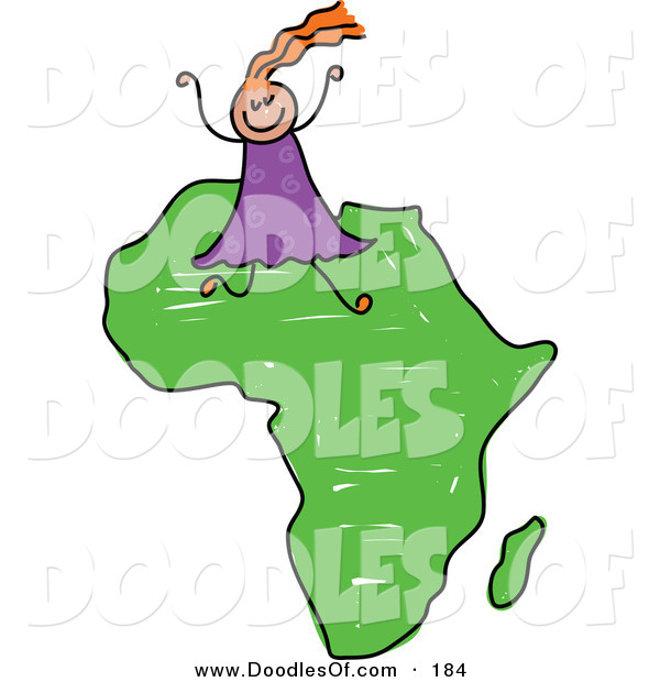 600x620 Vector Clipart Of A Childs Sketch Of A Happy African Girl