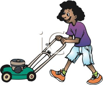 350x289 African American Teen Girl Mowing Grass