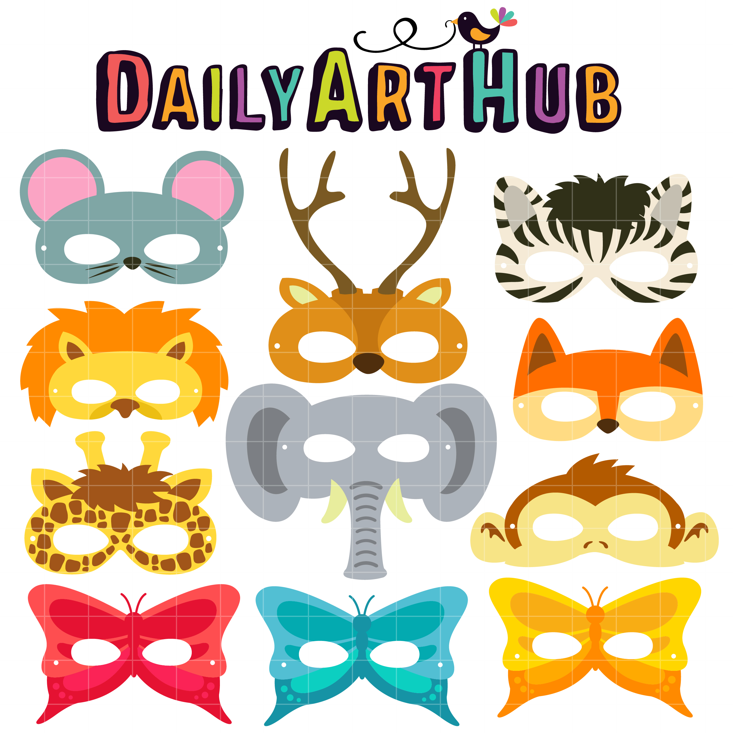 2500x2500 Animal Party Mask Ii Clip Art Set Daily Hub Free Clipart