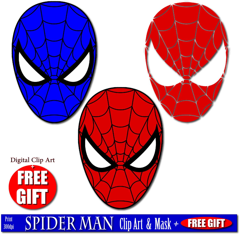 1500x1481 Digital Clip Art Spiderman Mask Superhero Party Masks Clipart