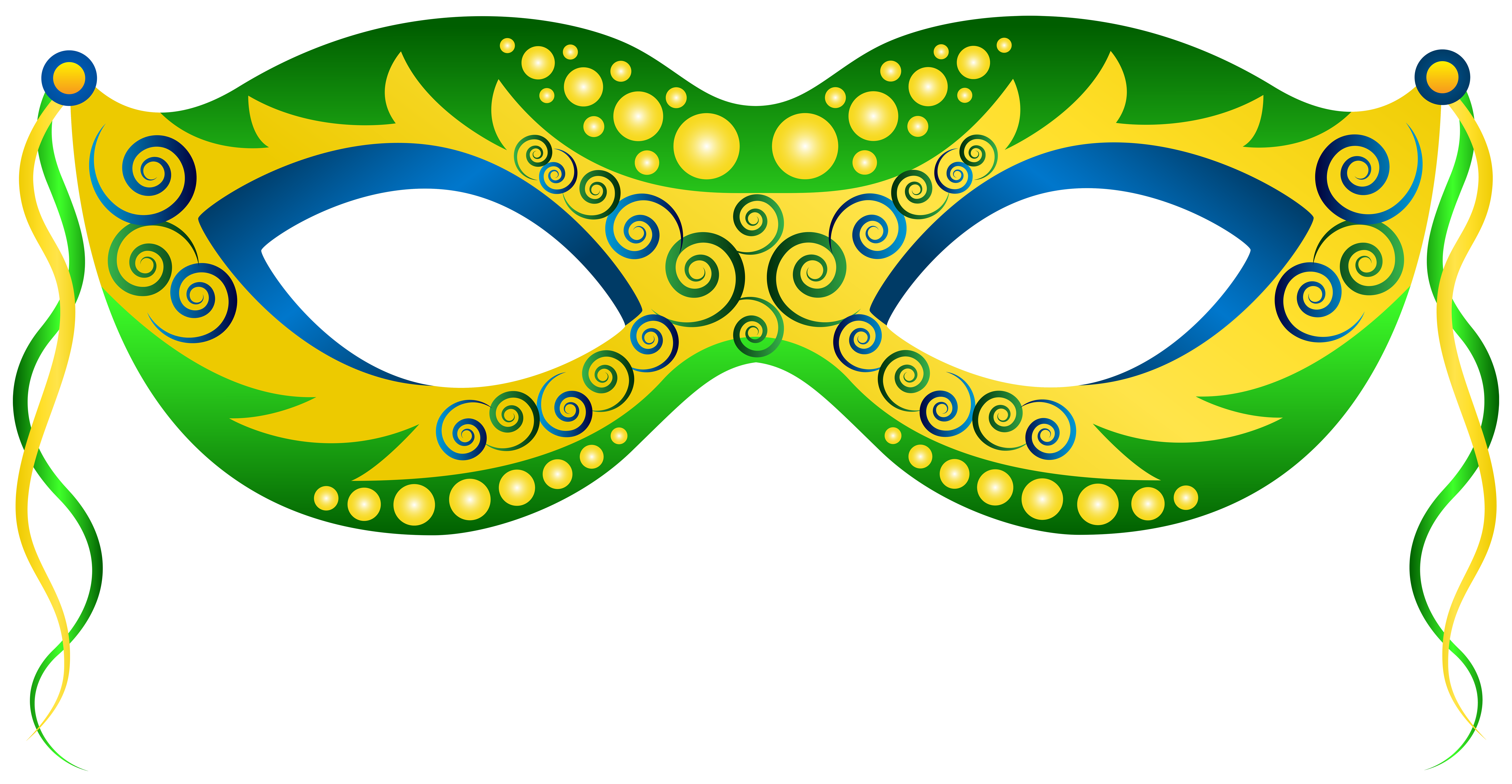 8000x4149 Green Yellow Carnival Mask Clip Art Image