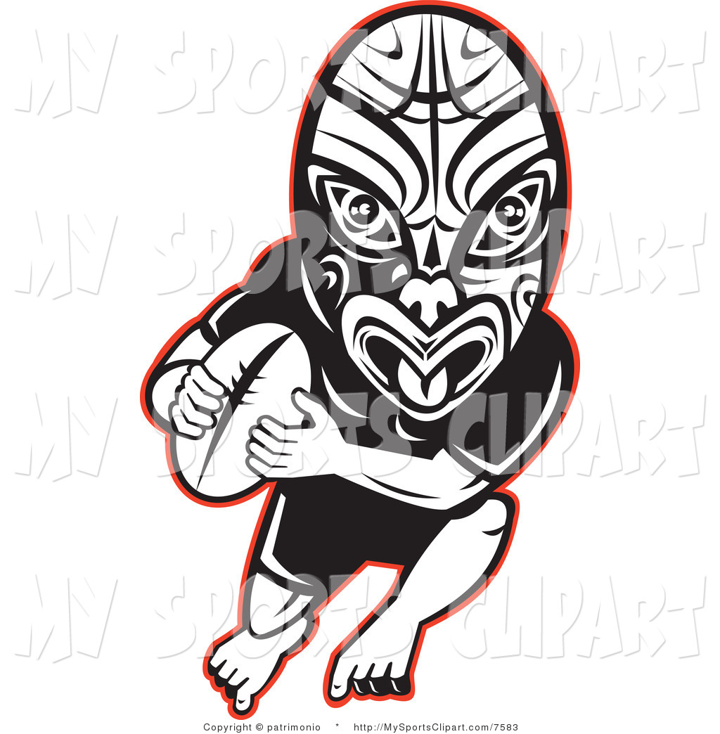 1024x1044 Sports Clip Art Of A Black And White Ruby Player Wearing A Maori