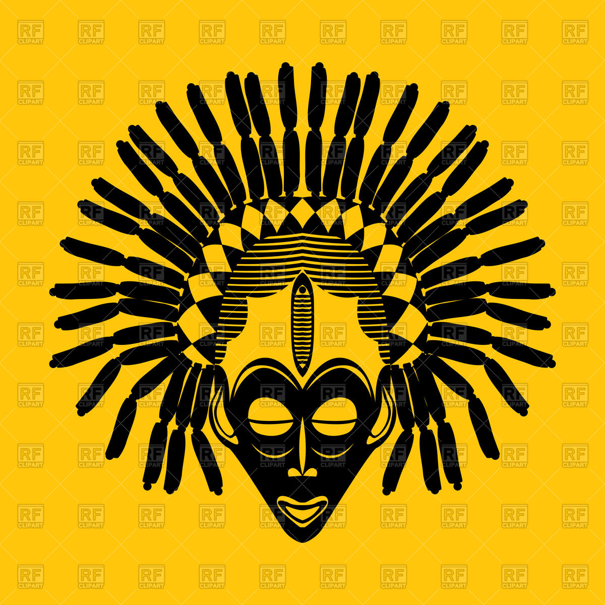 1200x1200 Tribal African Mask On Yellow Background Royalty Free Vector Clip