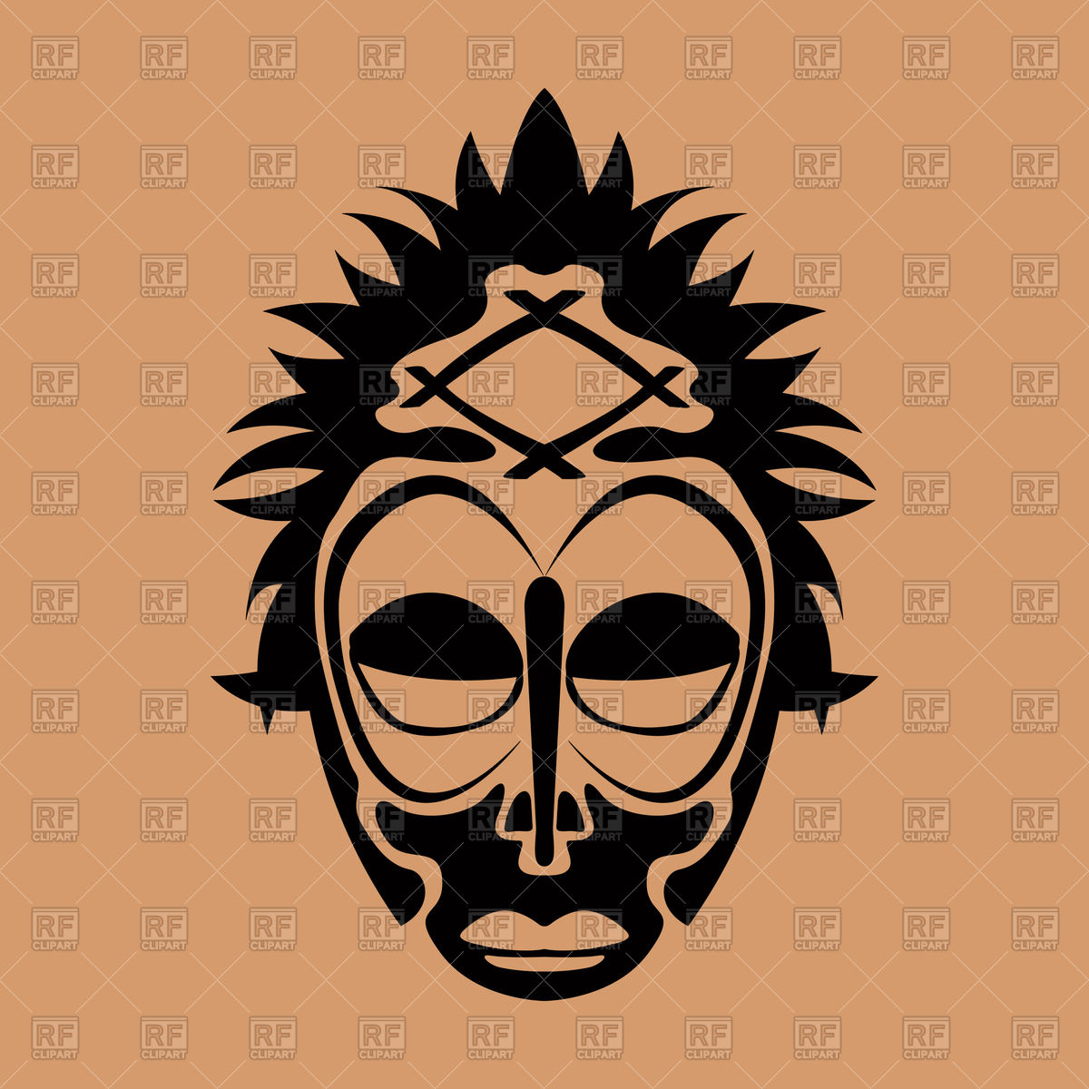 1200x1200 Tribal Mask Design, Abstract Art Royalty Free Vector Clip Art