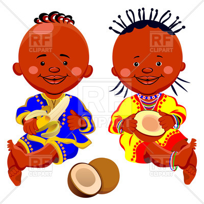 400x400 African Babies National Costumes With Coconut And Banana