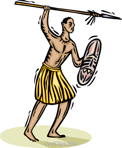 396x480 African Tribesman With A Spear Royalty Free Vector Clip Art