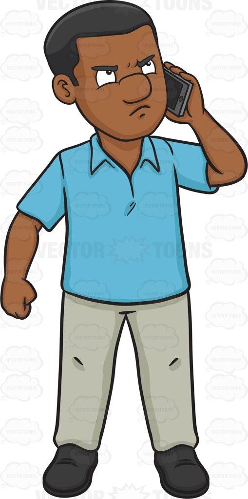 509x1024 An Upset Black Man Talking On The Phone Cartoon Clipart Vector Toons