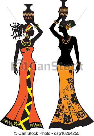327x470 Beautiful African Woman With Vases, Two Versions Clipart Vector