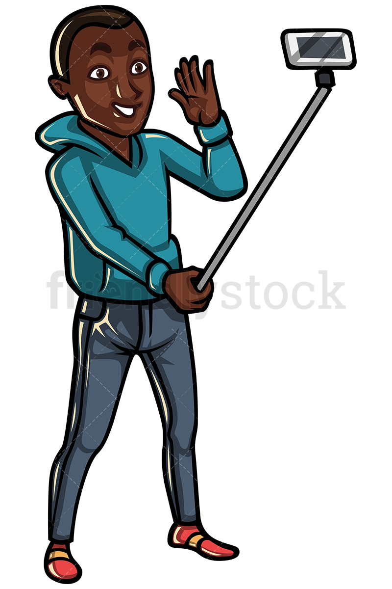 800x1200 Black Man Taking Photo With Selfie Stick Vector Cartoon Clipart