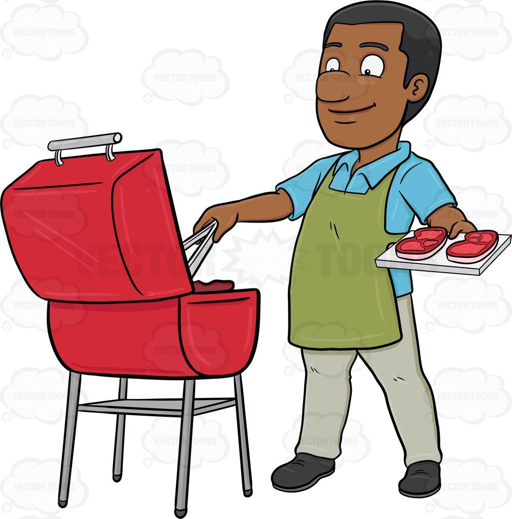 1010x1024 A Black Man Grilling Batches Of Steak For A Party Cartoon Clipart