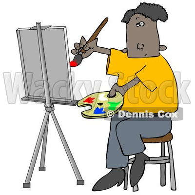 400x400 People Clipart Illustration Image Of An Black Male Artist Sitting