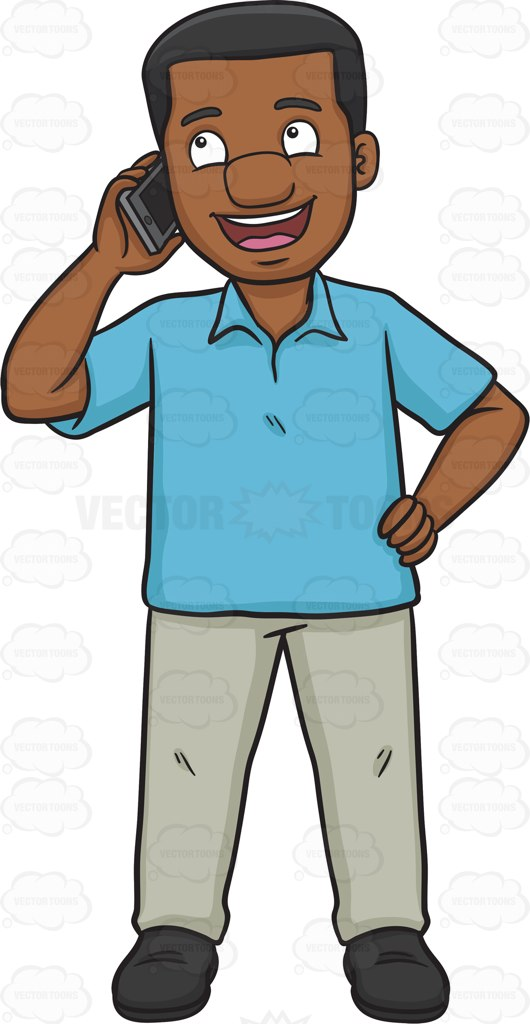 530x1024 A Happy Black Man Calling Someone On His Phone Cartoon Clipart