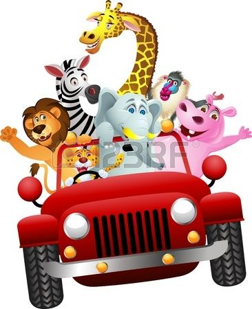 366x450 African Animals In Red Car Pedal Car Party African