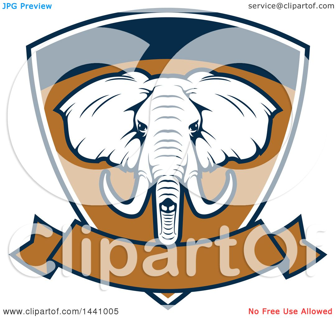1080x1024 Clipart Of A Big Game Elephant Safari Hunting Shield With A Banner
