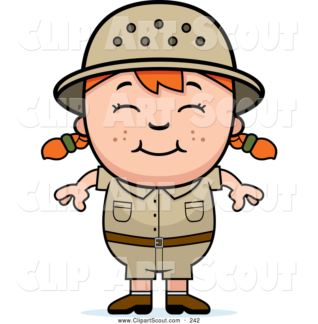 1024x1044 Clipart Of A Happy Red Haired African Safari Girl By Cory Thoman