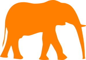 298x210 Elephant Orange Clip Art