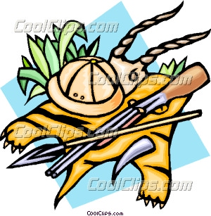 300x307 The Safari With Tiger Skin, Spear And Gun Clip Art