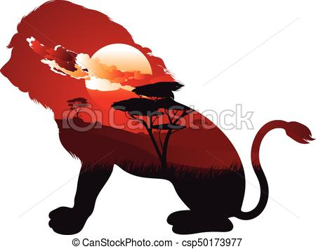 450x355 African Sunset With Lion. Colorful Sunset Scene, African