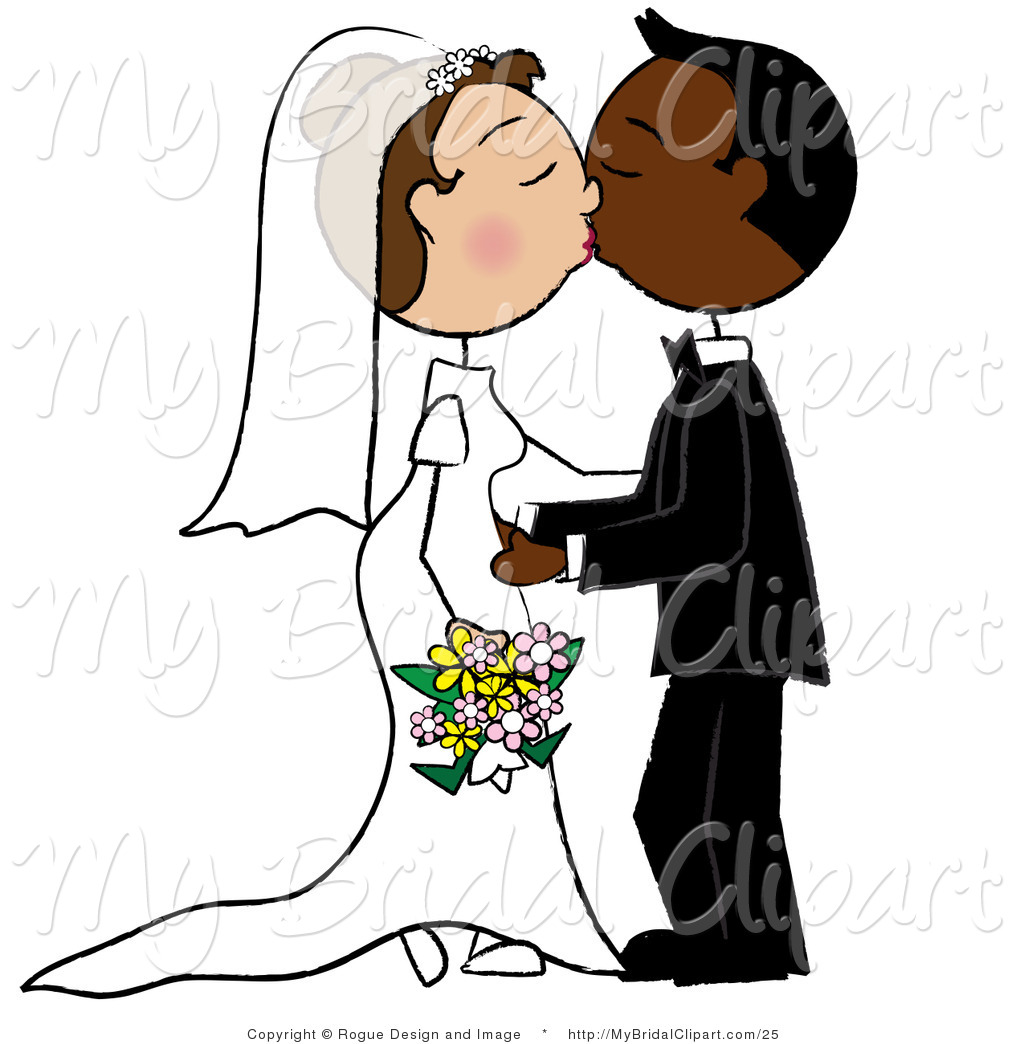 1024x1044 Bridal Vector Clipart Of A Caucasian And African American Wedding