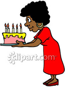 225x300 African American Woman Holding A Birthday Cake Royalty Free Clip