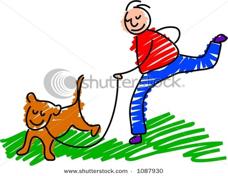 450x348 Cartoon Clipart Picture Of Boy Walking His Dog On Leash In
