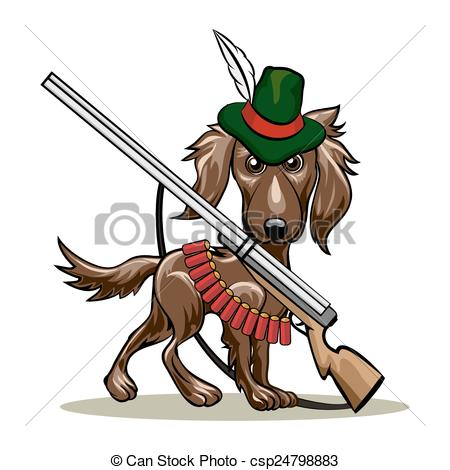 450x470 Hunting Dog. Humorous Illustration Of Dog In A Hunter Hat