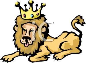 300x220 A Lion Wearing A Crown Clip Art Image