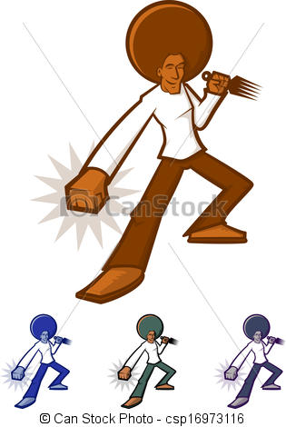 315x470 Afro Man. Action Character With A Giant Afro Vector Clip Art