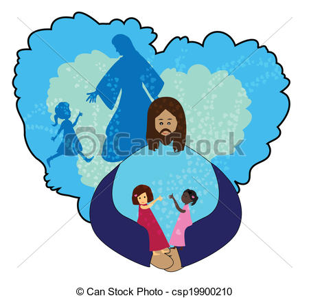 450x434 Jesus Love Children. Let The Little Children Came To Me Vector