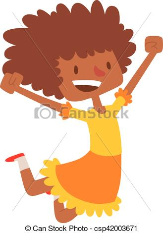 329x470 Jumping Afro Girl Vector Illustration. African American Girl