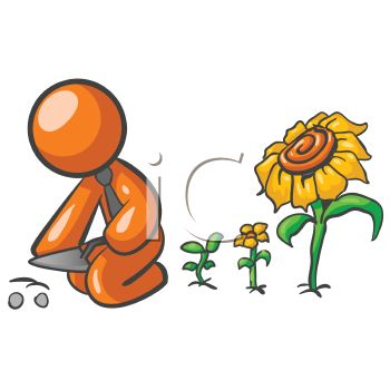 350x350 Orange Man Character Planting Flowers