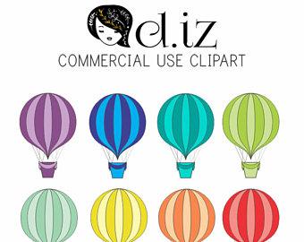 340x270 Hot Air Balloon Clipart, Banners Clipart, Party Clipart, Birthday