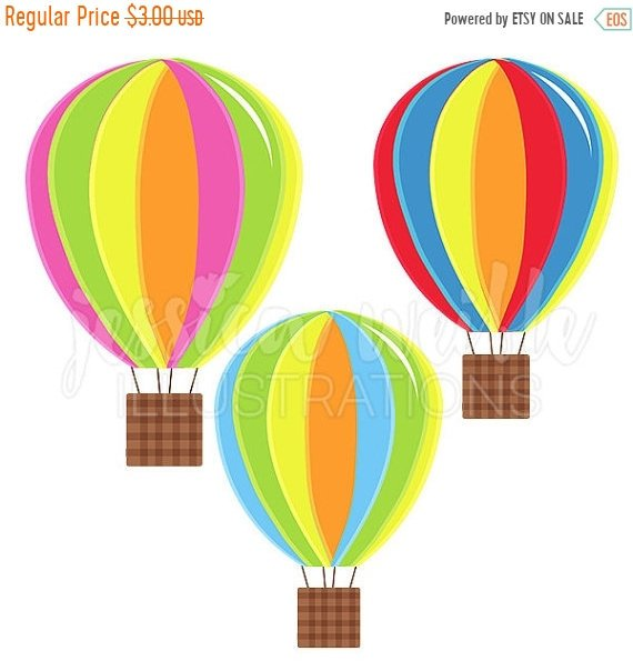 570x604 On Sale Hot Air Balloons Cute Digital Clipart, Fun Striped Hot Air