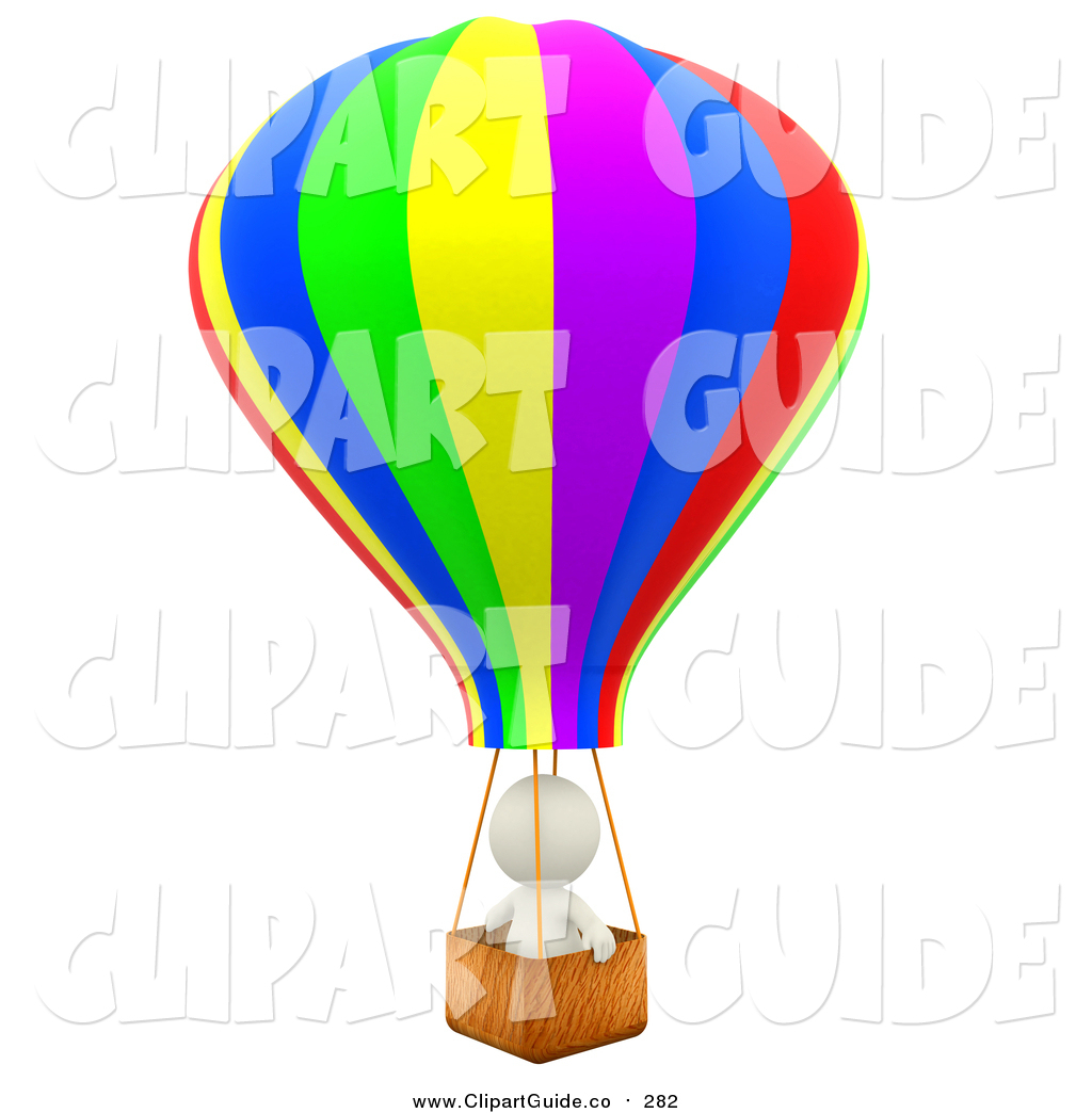 1024x1044 Clip Art Of A 3d White Person Aviator In A Hot Air Balloon By