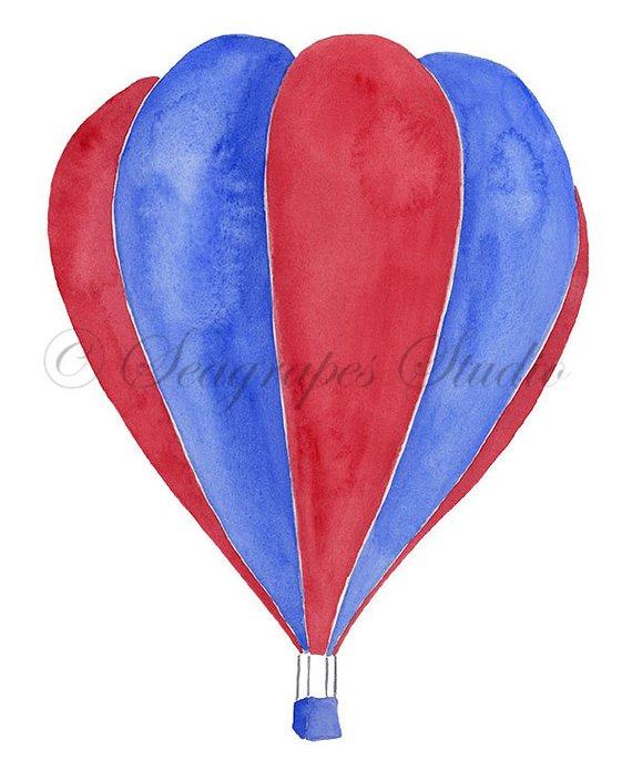 570x696 Hot Air Balloons Watercolor Clipart, 3 Individual Balloon Png