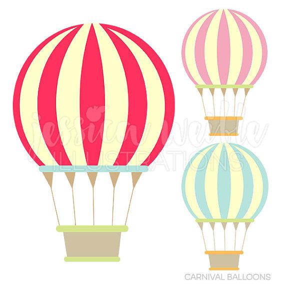 570x570 Carnival Hot Air Balloons Cute Digital Clipart