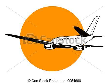 450x342 Jumbo Jet Plane. Artwork On Air Transport Stock Illustration