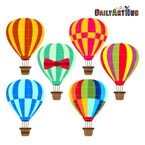 570x571 Air Balloons Digital Clipart For Scrapbooking Card By Dailyarthub