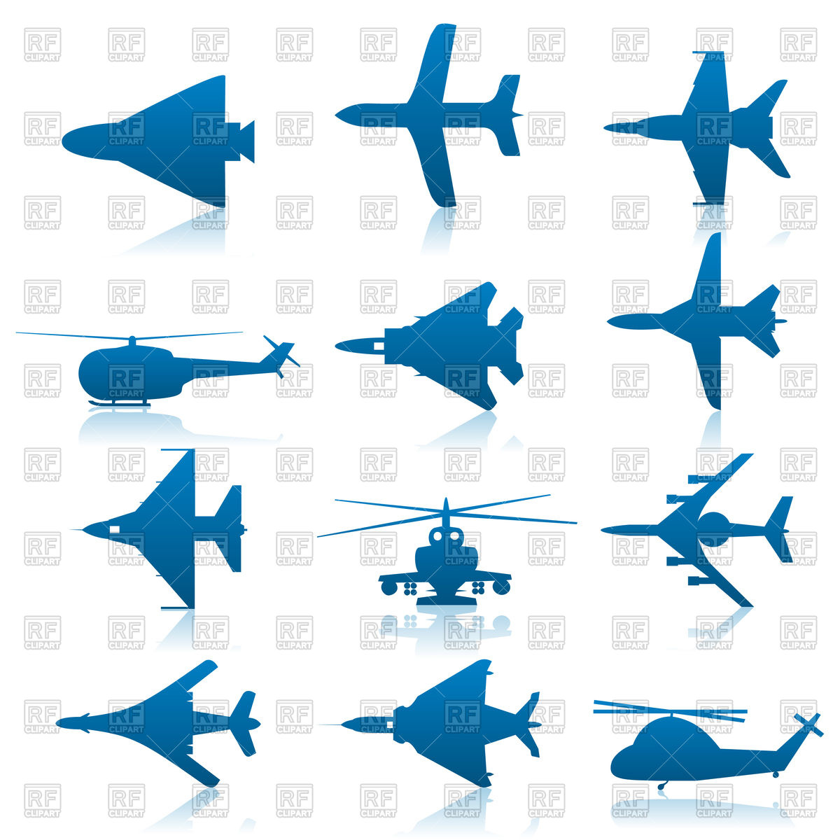 1200x1200 Set Of Aircraft Icons Royalty Free Vector Clip Art Image