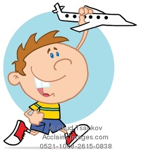 277x300 Clipart Image Of A Happy Kid Playing With A White Toy Airplane