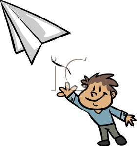 281x300 Kids Throwing Paper Airplane Clipart