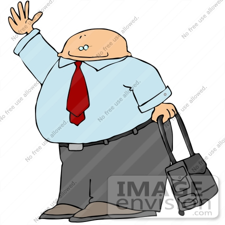 450x450 Clipart Of A Businessman Waving And Rolling Luggage In An Airport