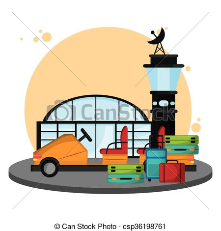 450x470 Colorful Airport Over White Background , Vector Clip Art Vector