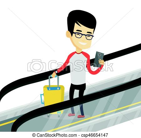450x441 Man Using Smartphone On Escalator In Airport. Asian Man Eps