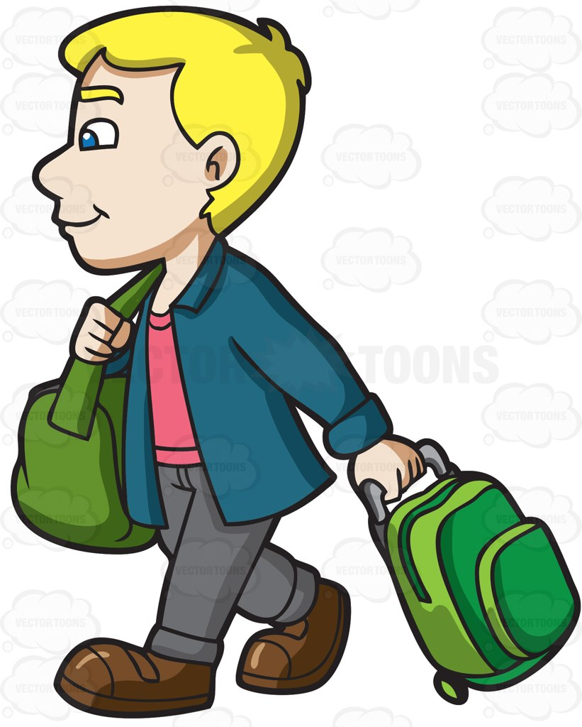 821x1024 A Man Going To The Airport Cartoon Clipart Vector Toons